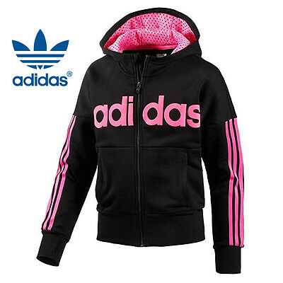 NWT ADIDAS Girl's Training Hooded Sweatshirt  Size XS-S-L 100% Genuine HOODIES