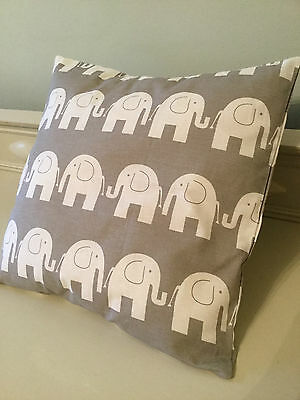 1 HANDMADE GREY WHITE ELEPHANT CUSHION COVER vintage modern nursery stripe baby