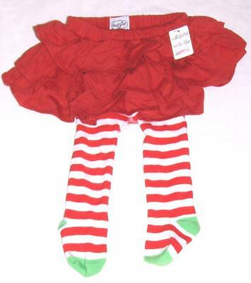 NEW MUD PIE RED SKIRT & TIGHTS 12-18m BABY GIRL-STRIPED HEART STOCKING CHRISTMAS