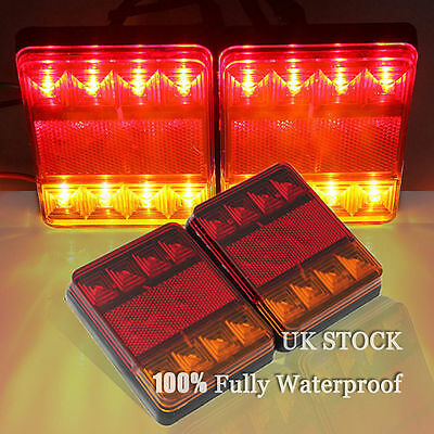 2x 12V 8LED CARVAN VAN TRUCK LORRY TRAILER REAR TAIL STOP LIGHTS INDICATOR LAMP
