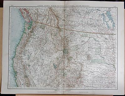 """1900 """"times""""  Large Antique Map - United States North West And Canada South West"""