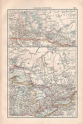 """1900 """"times""""  Large Antique Map - Canada Western, Manitoba, Great Lakes"""