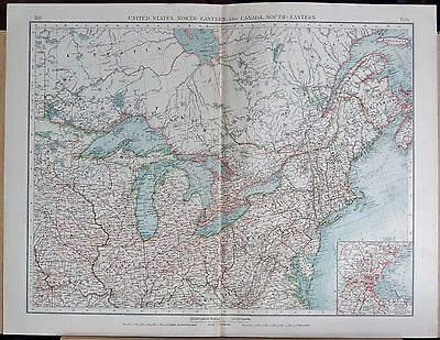 """1900 """"times""""  Large Antique Map - United States North East And Canada South East"""