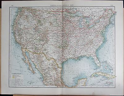 """1900 """"times""""  Large Antique Map - United States General Map"""