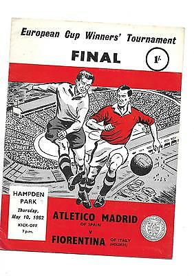 1962 European Cup Winners cup Final Atletico Madrid v Fiorentina at Hampden Park