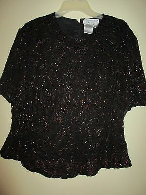 Pappel Boutique Evening Beaded Blouse Black and Brown Size 1X