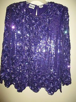 Beaded Evening Blouse Purple Size M Long Sleeves