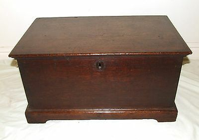 SMALL Early Antique GEORGIAN Oak Coffer Chest Blanket Laundry Box  Table c1760