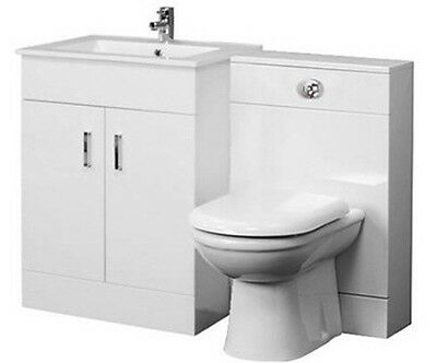 Luxury Bathroom Suite WC Set 500mm Turin Vanity 500x200 BTW Unit D Shape Toilet
