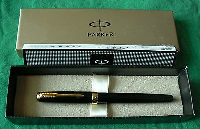 New Parker Fountain Pen Boxed, Shiny Black Lacquer With Gold Plate Trim And Nib
