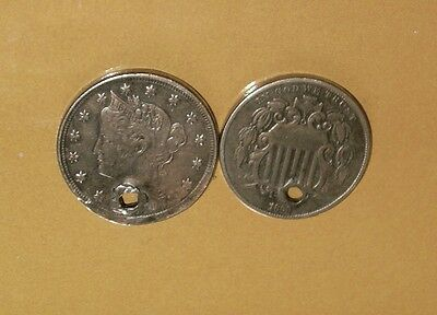 1868  and  1907  5 cents coins EX  bracelet ////  made in USA