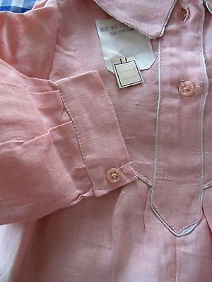 """UNWORN VINTAGE FRENCH CHILD'S LINEN DRESS - PRETTY PINK w/WHITE PIPING 32"""" Chest"""