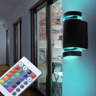 rgb led wand lampe garten au en leuchte terrassen strahler fernbedienung dimmer eur 44 90. Black Bedroom Furniture Sets. Home Design Ideas
