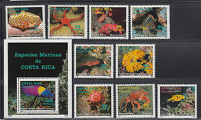 Costa Rica 1994 Marine Life +  MS Sc 466-475 Complete Mint Never Hinged