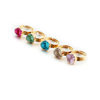 Finger Natural Jewelry Rock Gold Plated Druzy Stone Ring Crystal Adjustable