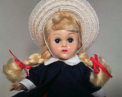 BEAUTIFUL 1955 MLW Vogue Ginny Doll Rosy Cheeks Blonde Braided Wig Tagged Dress