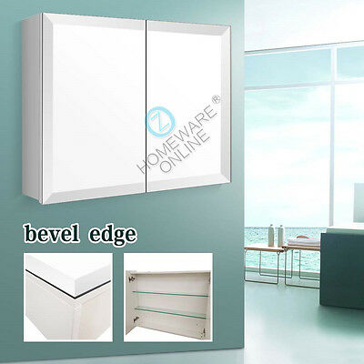 900 x 720x150mm Bevel Edge Mirror Shaving White Cabinet Medicine Bathroom Vanity