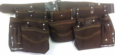 Pocket Double Thick Oiled Leather Tool Pouch Waist Bag Belt Storage Heavy Diy