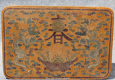 "11"" Chinese Wooden lacquer Dragon Dragons Zodiac Year Animal Chun Word Box Boxes"