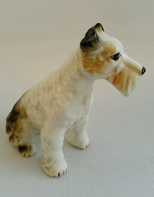 Vintage Fox Terrier Porcelain China Wire Haired Figurine Sitting Figure Dog