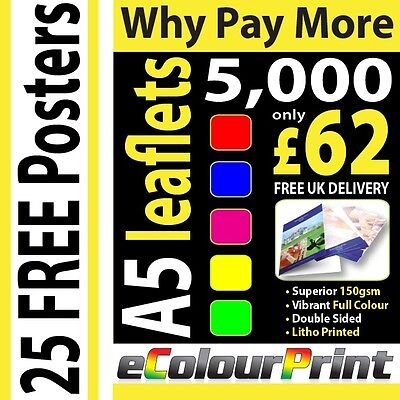 5000 A5 Colour Leaflets / Flyers - FREE Posters