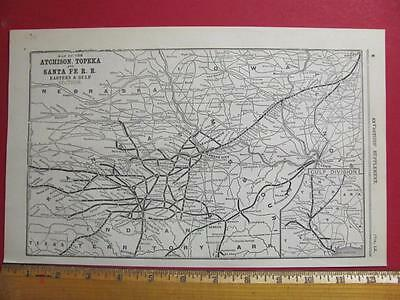 122 Year Old Atchison Topeka & Santa Fe East Railroad System Map Printed In 1895