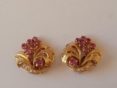 Vintage 1950's 22Ct. Gold Ruby & Diamond Floral Clip Earrings.