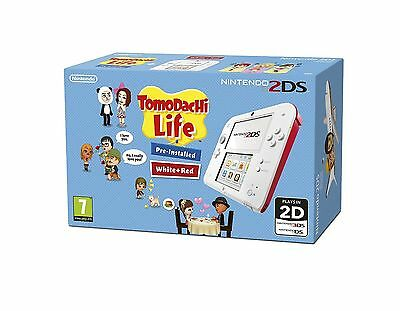NEW Nintendo 2DS Handheld Games Console with Tomodachi Life - Red/White