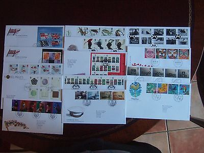 GREAT BRITAIN 2001 x 14 ALL DIFFERENT FIRST DAY COVERS SETS M/SHEETS PRESTIGE