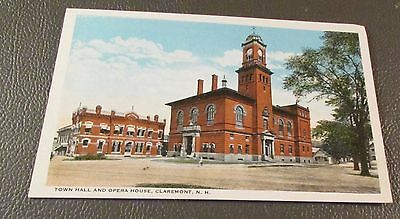 Old Postcard  CLAREMONT, NEW HAMPSHIRE   {EARLY TOWN HALL & OPERA HOUSE}