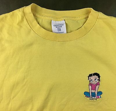 True Vintage 90s Betty Boop Stitched Embroidered Graphic Yellow Comic T-Shirt XL
