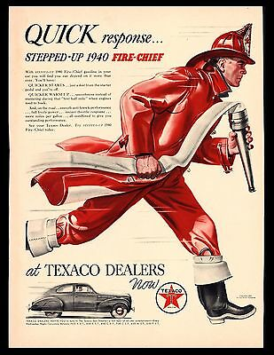 "Original 1940 ""texaco"" Fire-Chief Big Red Firemen's Hose Art Print Ad"
