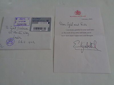 Queen Elizabeth Ii  Autograph Signed Letter Feb 2002 Re Death Of Margaret