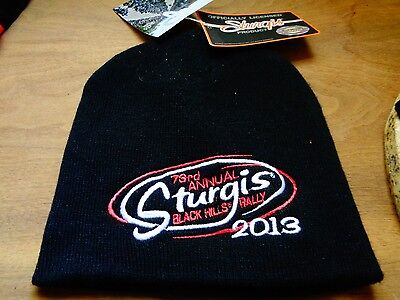 Sturgis Beanie 2013 73rd Motorcycle Rally Warm Hat Patch Biker Badge Pin NEW