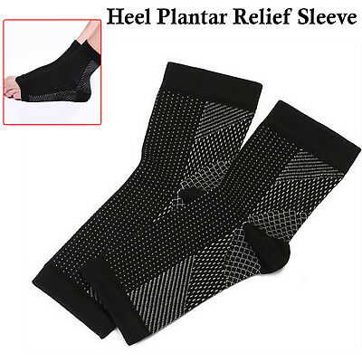 2 x Foot Anti Fatigue Compression Sleeve Relieve Pain Swelling Socks Arch Heel
