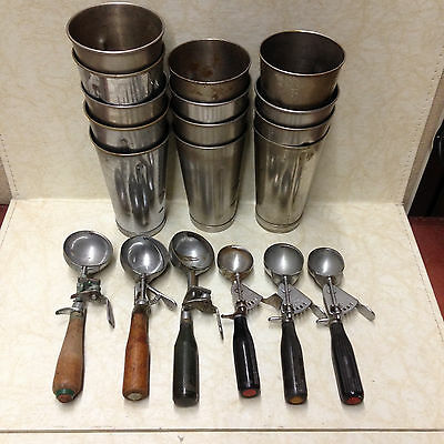 Vintage Ice Cream Scoops and Milkshake Mixer Cups One Lot