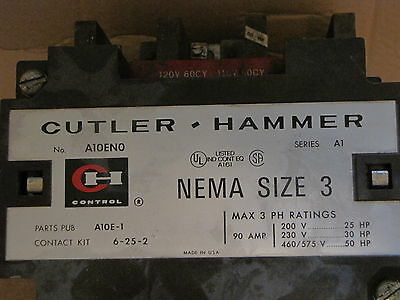 Cutler Hammer Size 3, 90Amp, 200V@25Hp Contact Kit 6-25-2