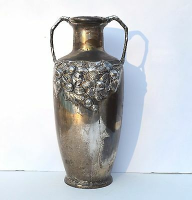 Gorgeous Antique Art Nouveau Silver Plated Repousse Fruits & Leaves Flower Vase