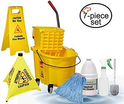 Tiger Chef Commercial Grade Mop and Bucket Housekeeping Janitorial Supplies Set,