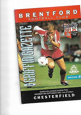 1995/6 Brentford v Chesterfield football programme