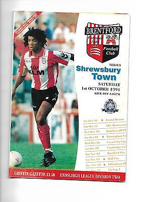 1994/5 Brentford v Shrewsbury Town  football programme