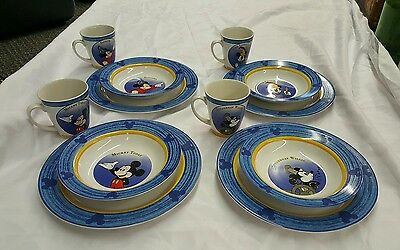 Disney Mickey Mouse Through the Years Stoneware Dinnerware 4 Place Setting 12 Pc