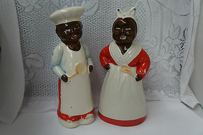 Vintage Large Aunt Jemima and Uncle Moses Shakers
