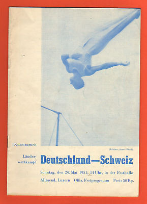 Orig.PRG   Gymnastic Event   SWITZERLAND - GERMANY 1951  !!  RARITY