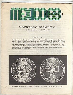 Orig.Olympic News / Preview   Olympic Games MEXICO 1968  -  Nr. 61  !!   RARE