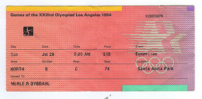 Orig.ticket   Olympic Games LOS ANGELES 1984  -  EQUESTRIAN // 29.07.  !!