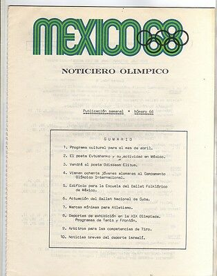 Orig.Olympic News / Preview   Olympic Games MEXICO 1968  -  Nr. 64  !!   RARE
