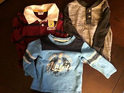 Lot of 3 Baby Boy Long Sleeve Shirts Size 12 months