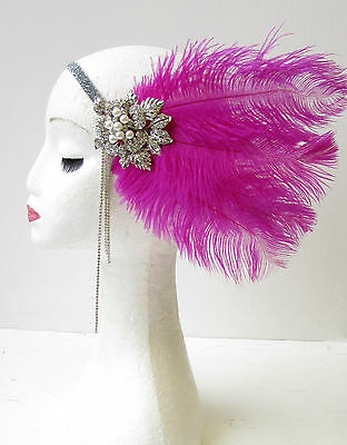 Hot Pink Silver Feather Headpiece 1920s Flapper Headband Great Gatsby Vtg 1659
