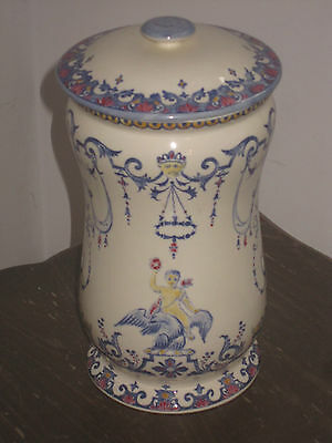 Rare Et Sublime Pot A Pharmacie En Faience De Gien Decor Rouen N°2